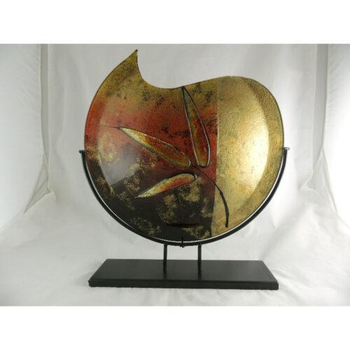 Design glas handbeschilderd vaas maanvorm 'Leaf'