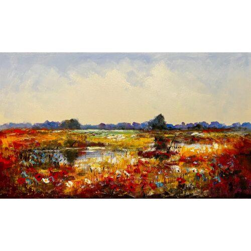 Jochem de Graaf schilderij 'Heidelandschap'